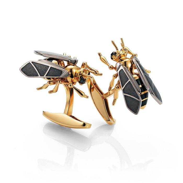Gold cuff links with enameled silver fondant and black tourmalines bee