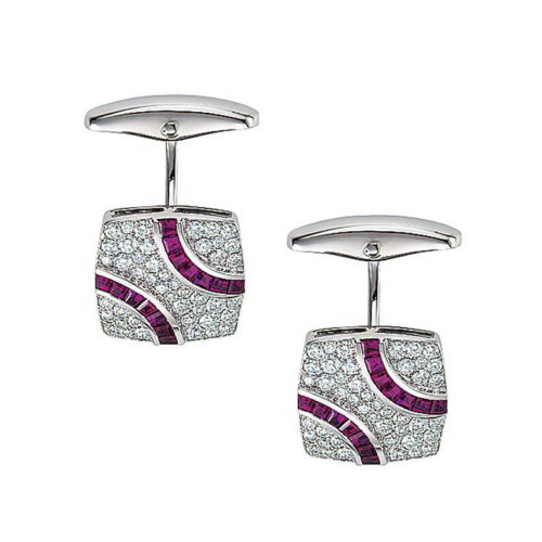 Diamond and ruby-studded gold cufflinks in the shape of a stretched square