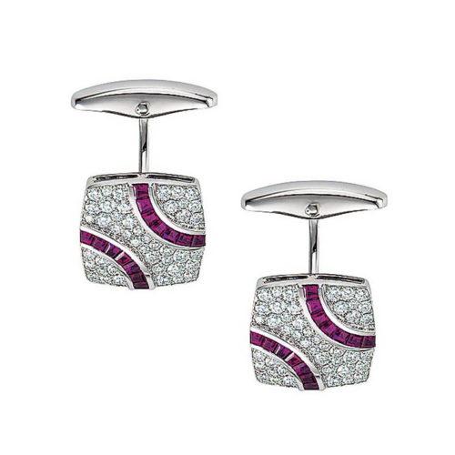 Diamant und Rubin-besetzte-Gold-Manschettenknöpfe in Form eines gespannten Vierecks