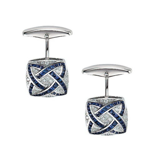 Diamond and sapphire set gold cufflinks in the shape of a stretched square