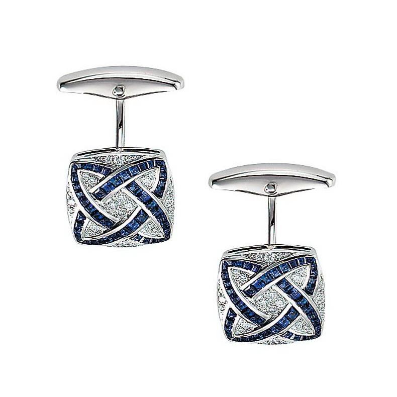 Diamant und Saphir-besetzte-Gold-Manschettenknöpfe in Form eines gespannten Vierecks