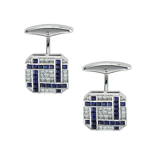 Diamond and sapphire set octagonal gold cufflinks