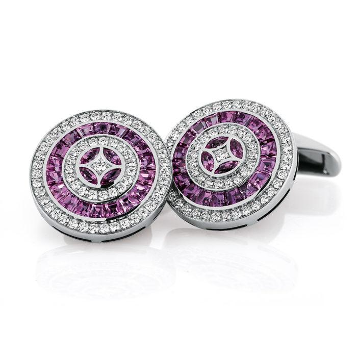 Diamant und Rosa Saphir-besetzte-runde-Gold-Manschettenknöpfe
