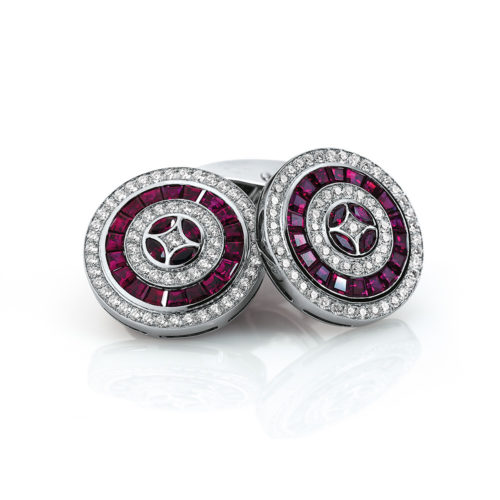 Diamond and ruby-studded round gold cufflinks