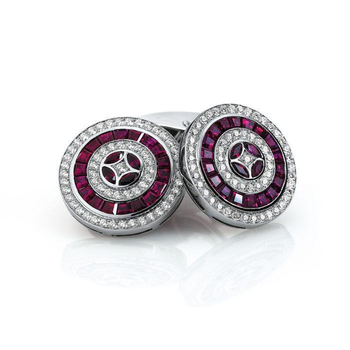 Diamant und Rubin-besetzte-runde-Gold-Manschettenknöpfe