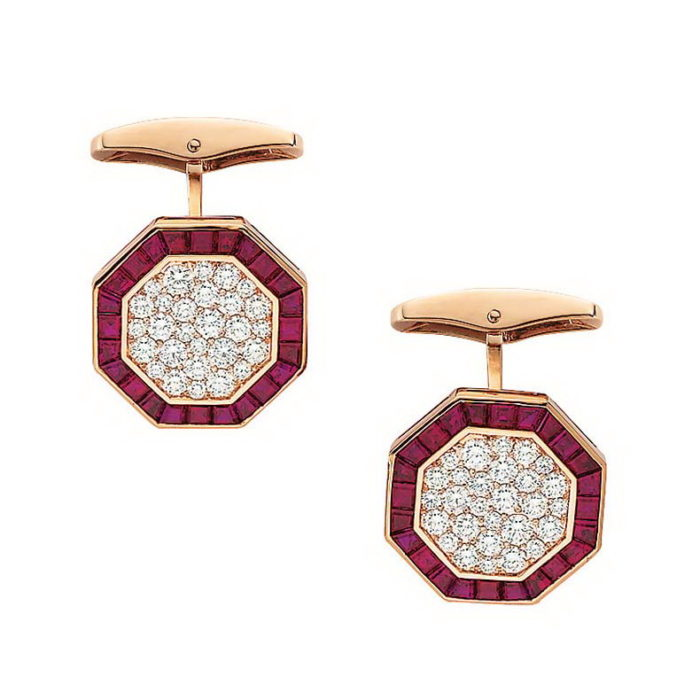Diamant und Rubin-besetzte-achteckige-Gold-Manschettenknöpfe