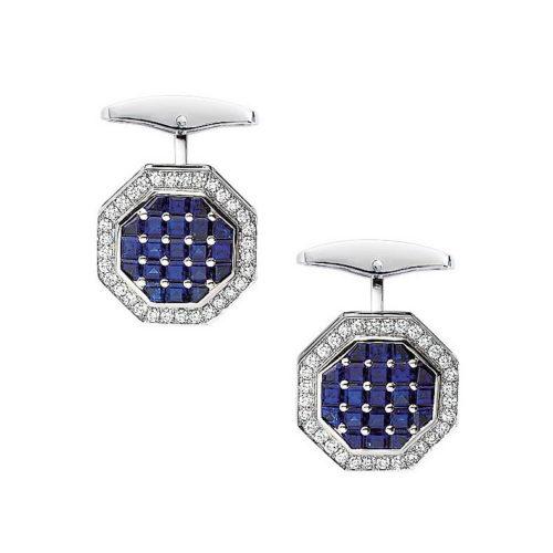 Diamant und Saphir-besetzte-achteckige-Gold-Manschettenknöpfe