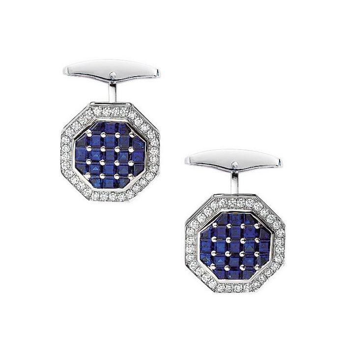 Diamond and sapphire set octagonal gold cufflinks