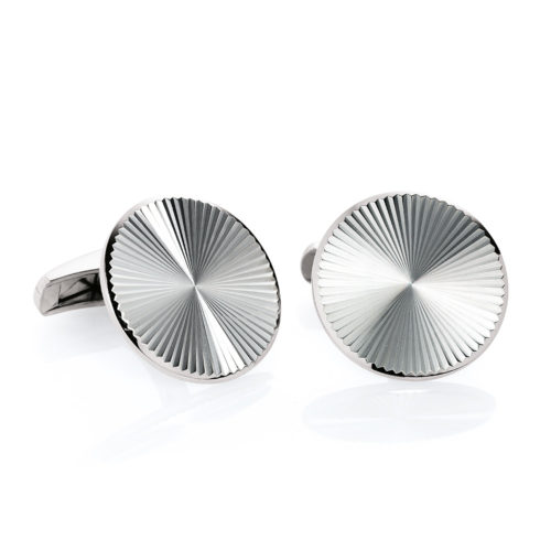 Round white gold cufflinks with guilloche