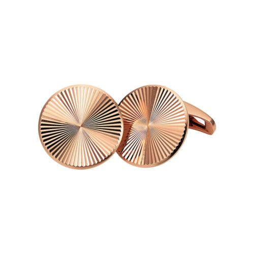 Round red gold cufflinks with guilloche