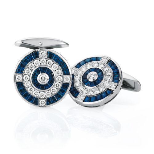 Diamant und Saphir-besetzte-runde-Gold-Manschettenknöpfe