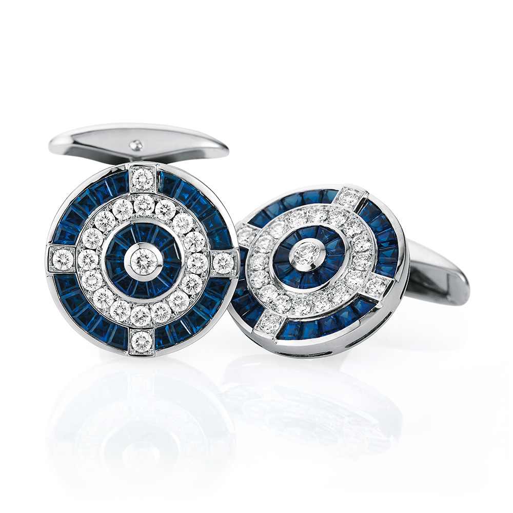 Diamond and sapphire set round gold cufflinks