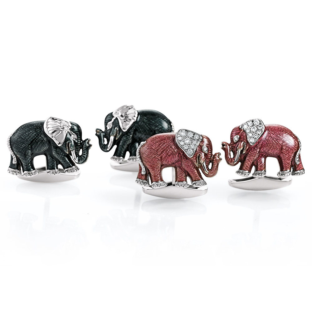Diamond-set pink enamelled gold elephant cufflinks