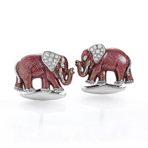 Diamant-besetzte-rosa-emaillierte-Gold-Manschettenknöpfe-Elefant