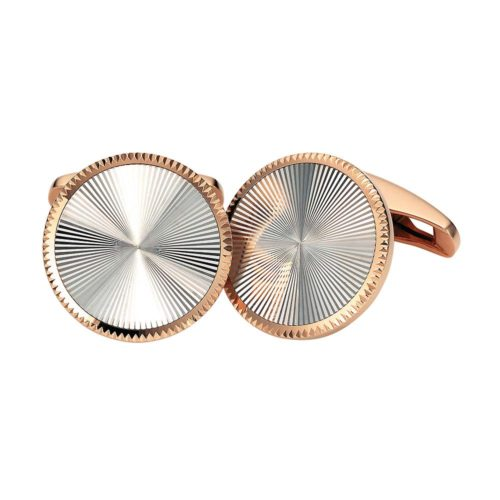 Round gold cufflinks with guilloche-inlay