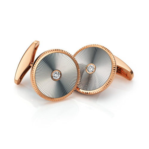 Round diamond-set gold cufflinks with guilloche
