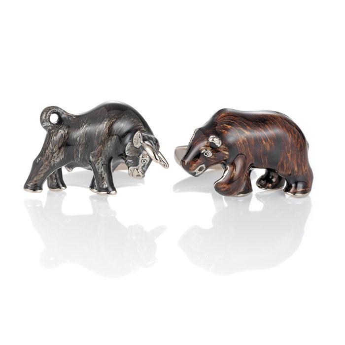 Zweifarbig-emaillierte-Gold-Manschettenknöpfe-Stier und Bär