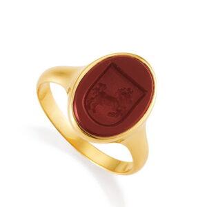 Gold Siegelring mit Lagenkarneol und Handgravur