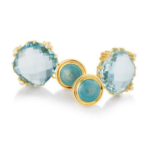 Gold Ohrringe Celeste Aquamarin Diamanten Emaille