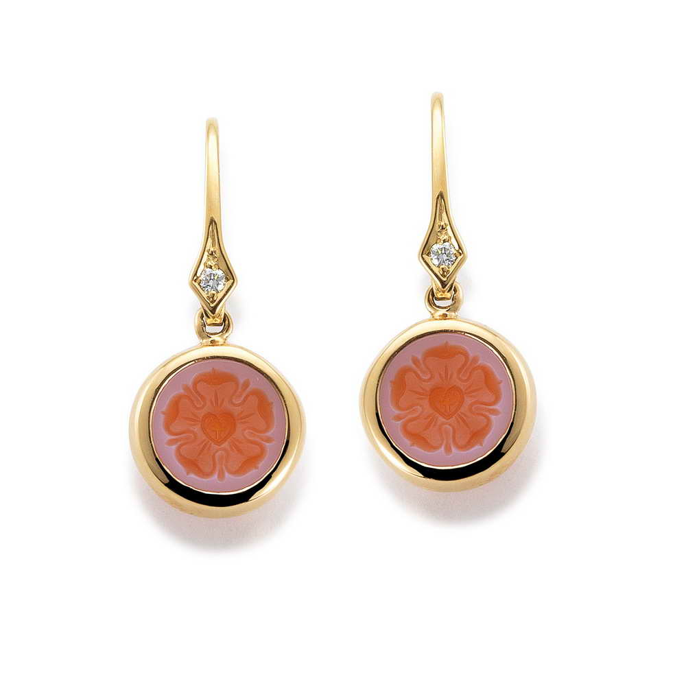 geravierte Gold Ohrringe Diamanten Lagenkarneol Rose rosa orange