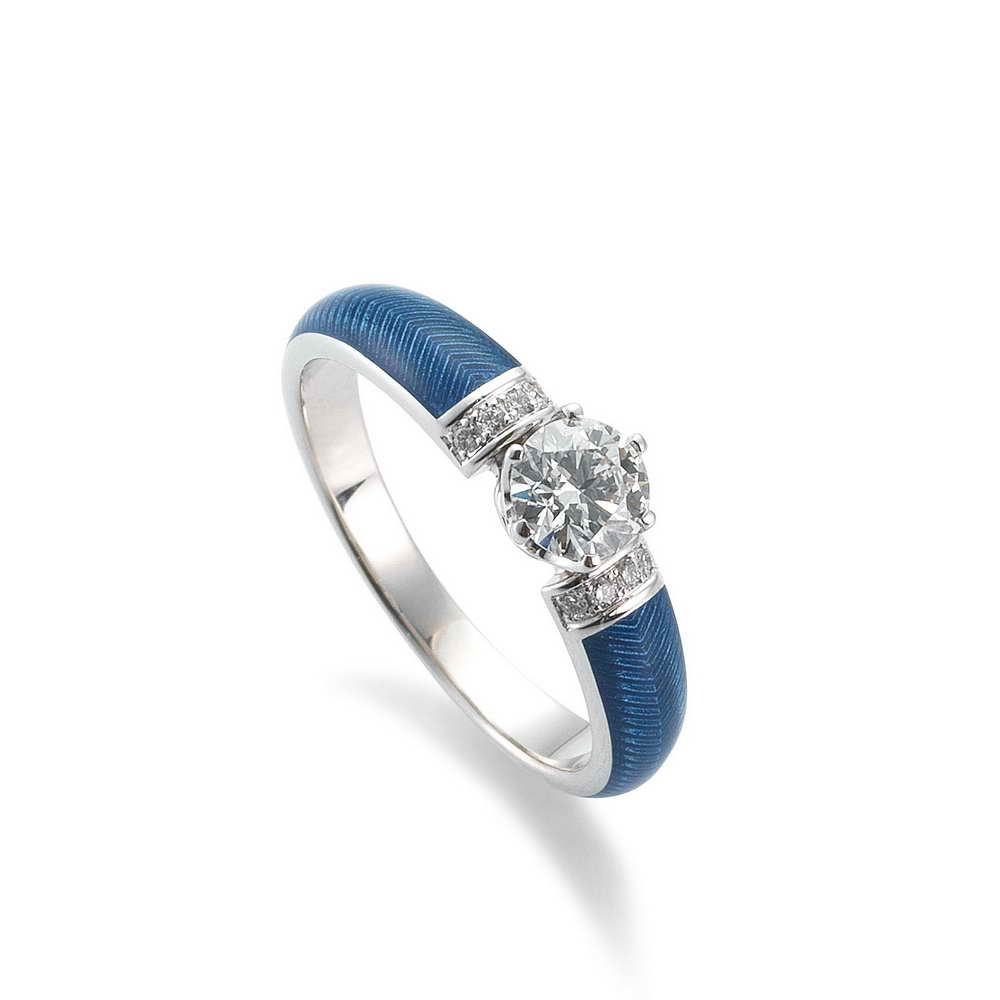 Weiß Gold Ring Diamanten Emaille Guilloche blau