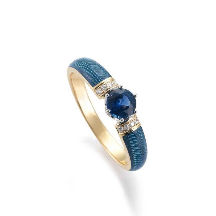 Gold Ring Emaille Guilloche Saphir Diamanten blau