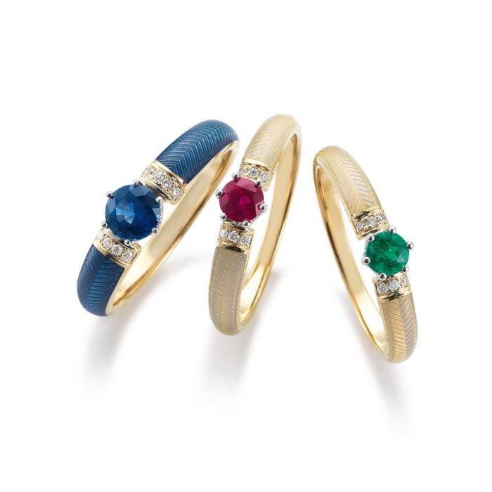 Gold Ring Emaille Guilloche Saphir Smaragd Diamanten blau rot grün