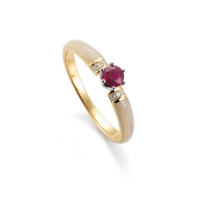 Emaillierter Diamant besetzter Gold Ring mit Guilloche und Rubin