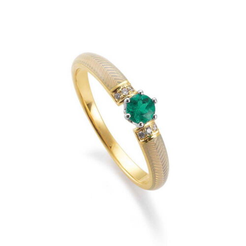 Enamelled Diamond Set Gold Ring with Guilloche and Emerald