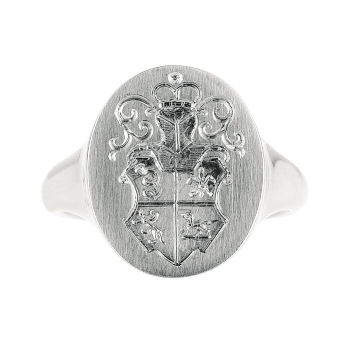 White Gold Signet Ring with Family Crest Hand Engraving