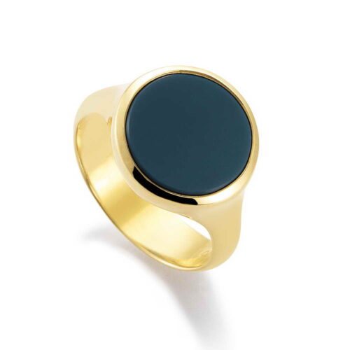 Gold signet ring with layered onyx